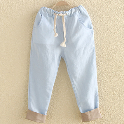 Blue 100% Cotton Kids Pants Children Clothing Sale Online