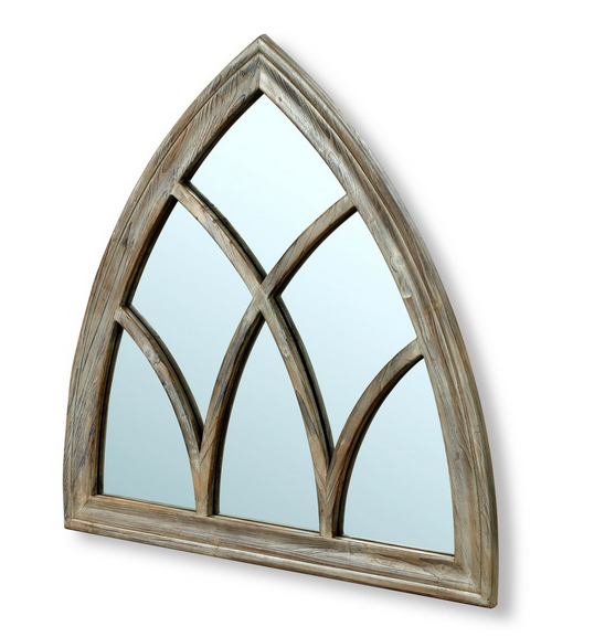 Triangle Wooden Decorative Mirror Frame in Natural Wood Finish