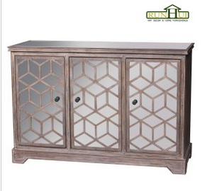 Wooden Mirrored 3 Door Cabinet in Drift Wood Finish (RN1012)
