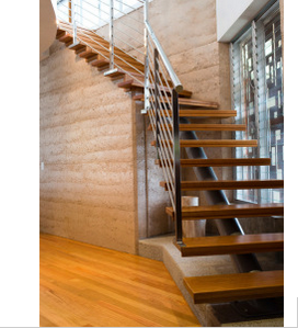 Modern Design Small Space Single Stringer Stairway with Solid Wood Staircase Tread