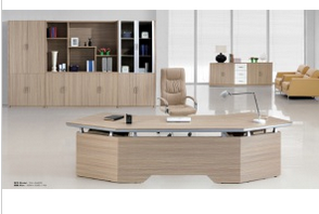 L Shape Modern Wooden Furniture Executive Office Table (CM-003)