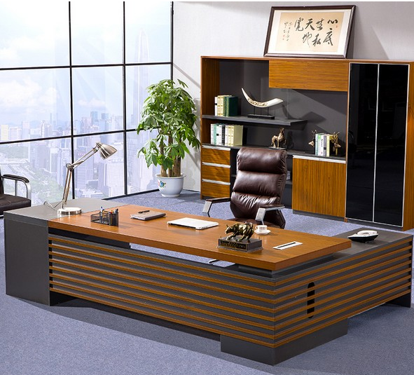 Glossy Oak Color Furniture Modern Executive Office Table (HX-NCD217)