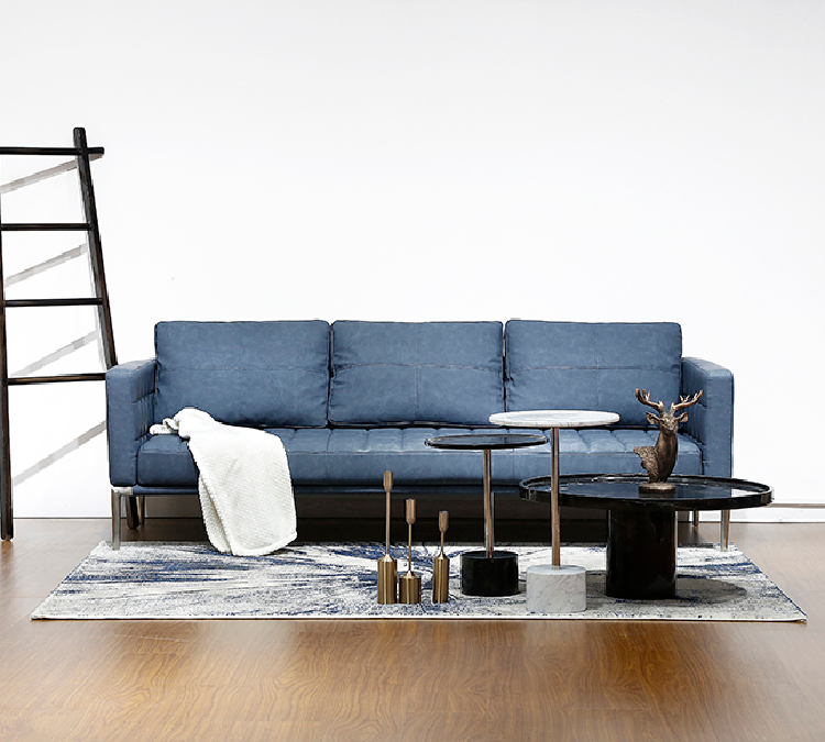 Elegant Navy Blue Furniture Living Room Leather Sofa Style Italian