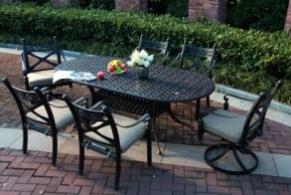 Cast Aluminum 7 PC Dining Set Garden Furniture
