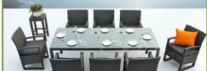 Popular indoor/outdoor rattan dining table set