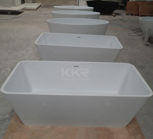 Rectangle Shaped Quality Solid Surface Resin Stone Freestanding Bathtub