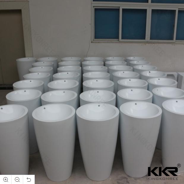 Bathroom Solid Surface Cylindrical Pedestal Wash Basin