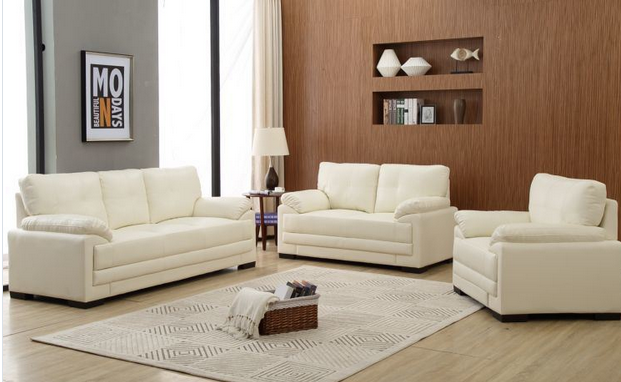 New Style White PU Leather Living Room Sofa