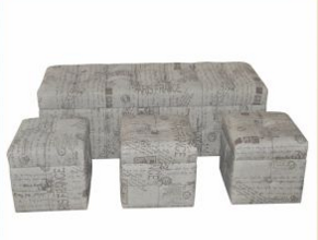 4 PC Stacking Living Room Script Linen Print Storage Ottoman Chest Trunk