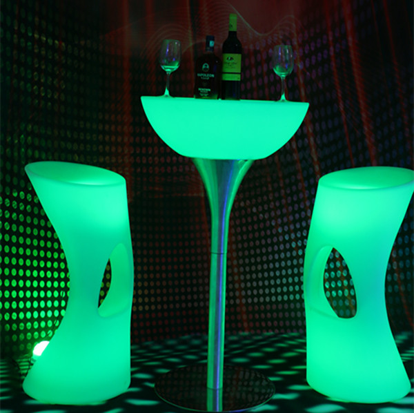 New design waterproof use commercial furniture illuminated led bar counter table made in China
