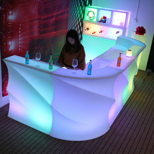 Shop Counter Design Remote Control Led Bar Table And Chair Lighting Furniture Illuminated