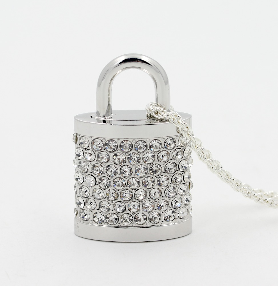 Custom lock shape jewelry usb flash drive crystal usb stick wholesale usb flash drive