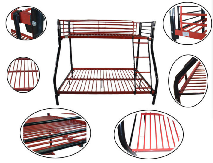 Home Steel Triple Bunk Bed with Slide