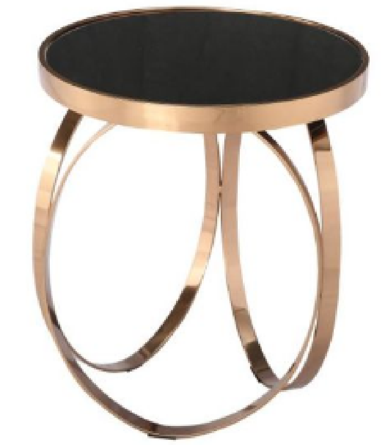 Black Tempered Glass Coffee Table with Rose Gold Frame