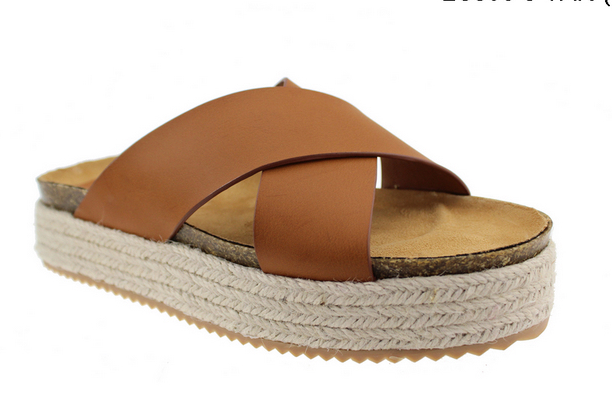 Cross Strap Rope Sole Ladies Wedge Hemp Sandals Shoes
