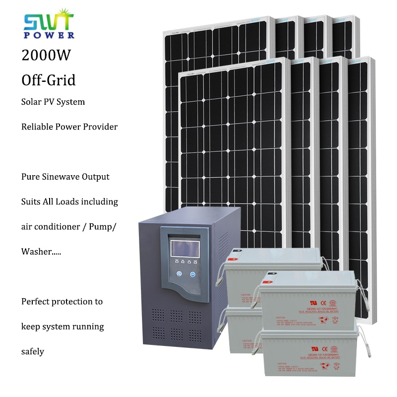 2000W Stand Alone Off-Grid Solar Energy System for Residential Commercial Area