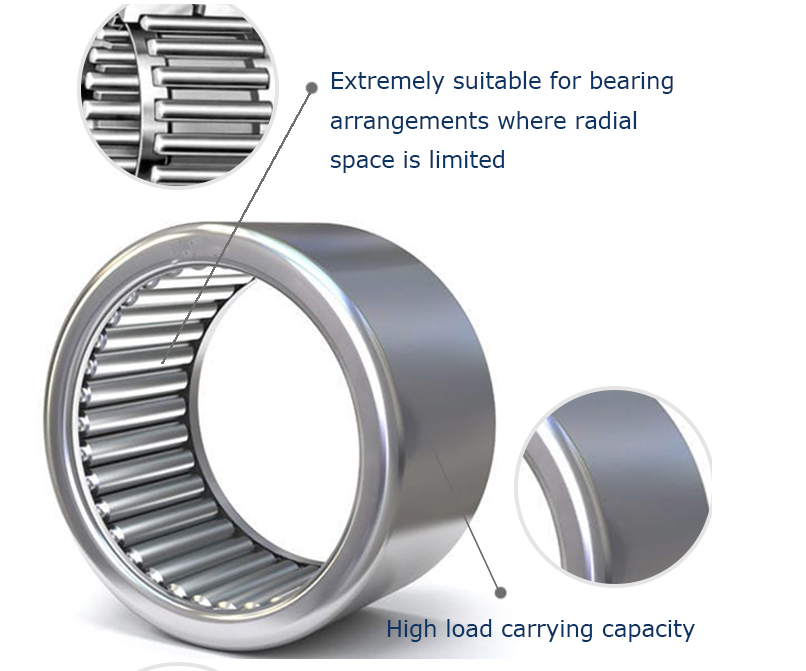 Drawn Cup Chrome Steel Flat Needle Roller Bearing
