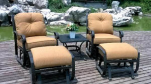 Garden Rockport 5PC Swivel Glider Chat Group with Ottoman Furniture