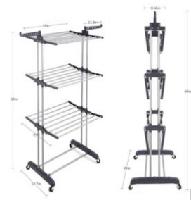 Clothes Drying Rack with Big Diameter Carbon Steel Tube and Premium ABS Plastic (JP-CR300WMS)