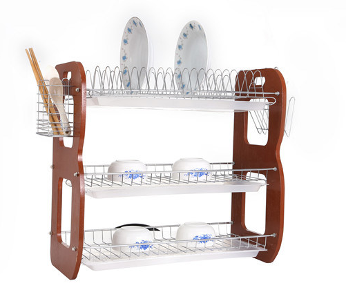 3 Layer Metal Wire Kitchen Dish Rack with Wooden Board Jp-Dr22315