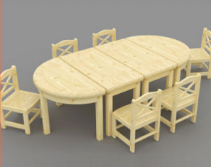 Solid Wood Nursery Play School Table and Chairs for Kids