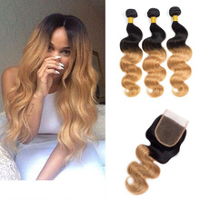 3bundles Ombre Brazilian Virgin Hair with Closure Body Wave Double Weft 1b/27