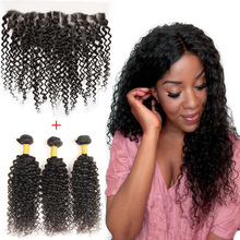 Peruvian Virgin Human Hair Kinky Curly 13*4 Lace Frontal Closure with 3 Bundles