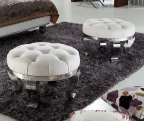 Classic Round Ottoman, Customized Ottoman, Stainless Steel Legs Fabric Ottoman, Stool F-52