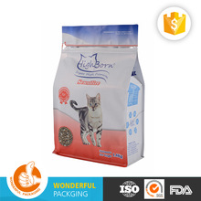 Custom printing quad seal pet feed waterproof pouch bag for food storage