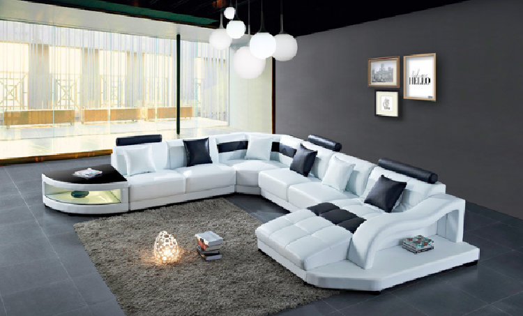 Large Unique Leather Sectional Corner Sofa (LZ-2217)