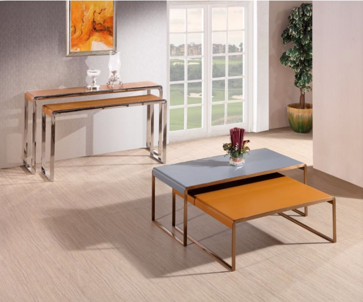 Modern Stainlesss Steel Coffee Table with Leather Top