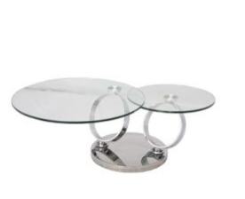 Round Folding Coffee Table with Tempered Glass Top