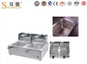 Electric Fryer with 2-Tank 2-Basket for Frying Food Machine