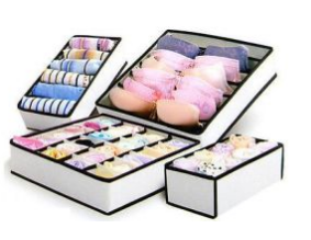 Fabric Foldable Bra and Underwear Organizer Box with Many Dividers