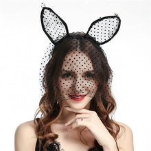 Factory Wholesale Halloween Hair Accessories Girls Party Head Hoop Sexy Lace Animal Cat Ears Headband With Veil Women