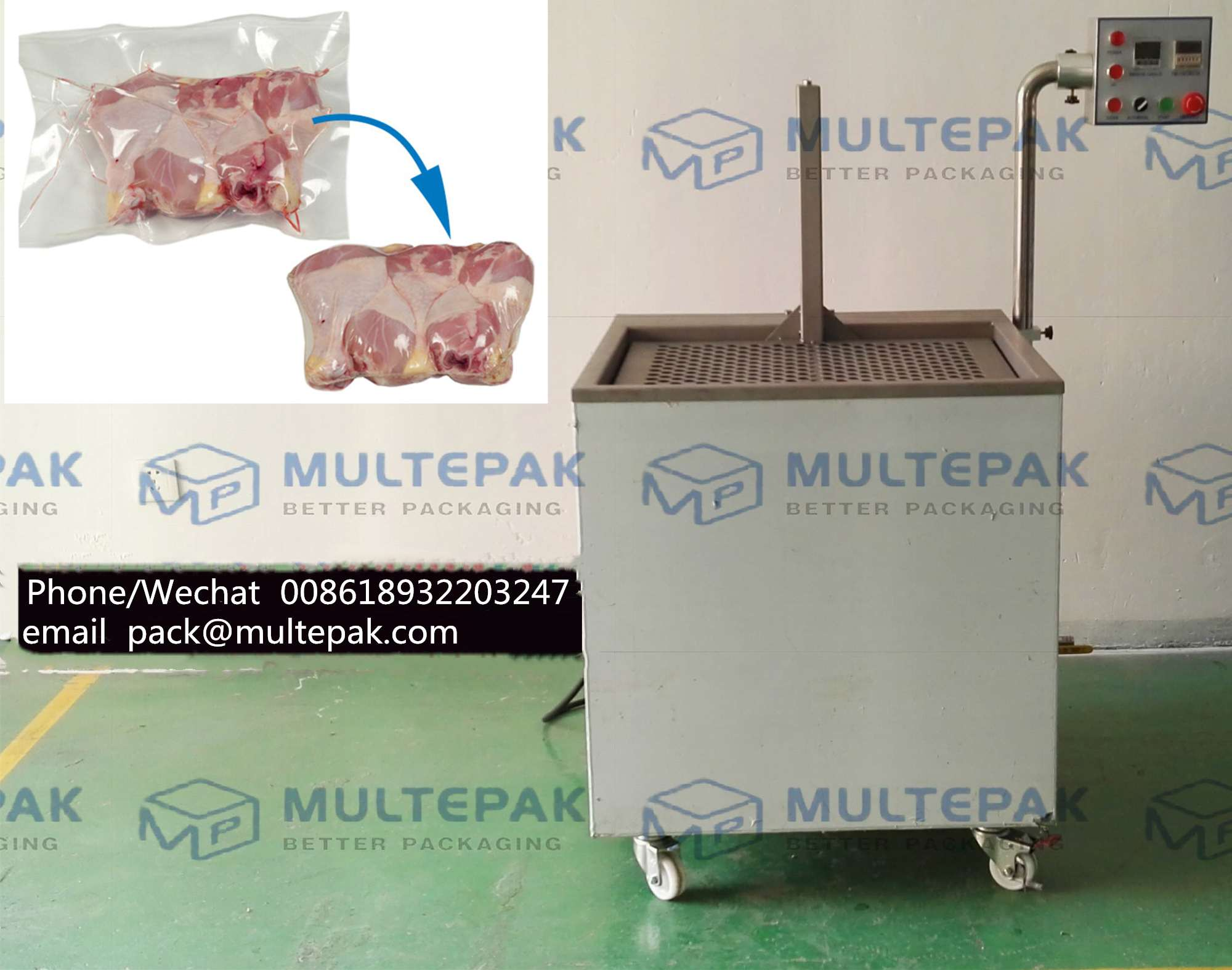 multepak chinese factory hot water dip shrink tank