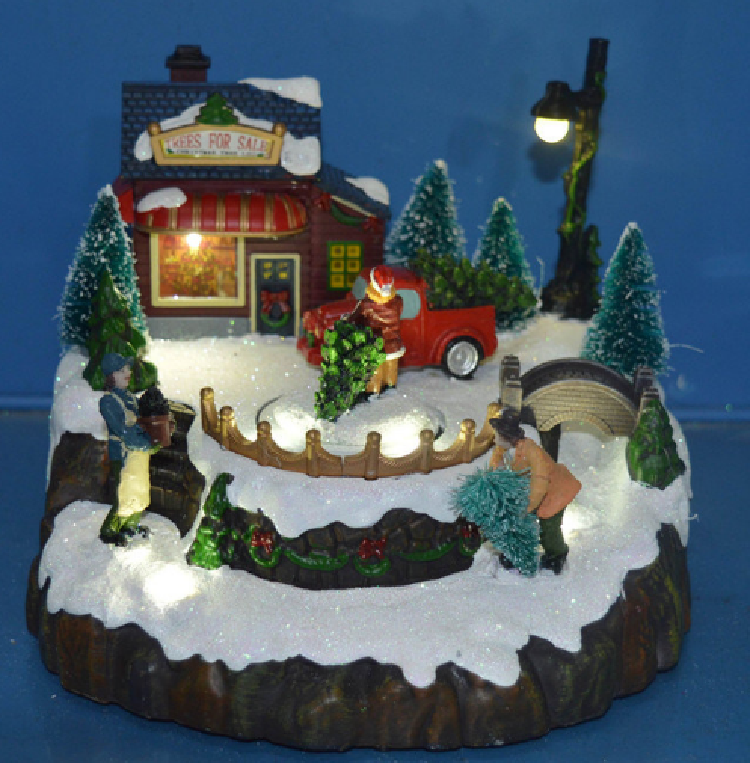 Resin Crafts Decoration 12′′ LED Mountain Sence with Rotating Train, Dancing People, Skiing Childs, Eight Christmas Songs