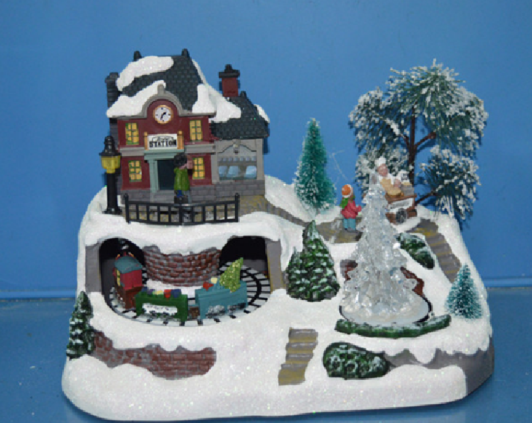 11′′led Village Scene with 2 Assorted, Train Station with Rotating Train and X′mas Tree, Living House with Rotating Figurines Eight Songs Music