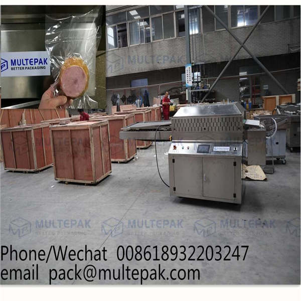 multepak automatic conveyorized   belt band vacuum packaging machine   for meat sausage dates