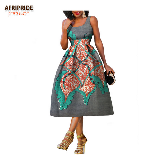 2018 Original Afripride private custom african clothes summer dress for women knee-length sleeveless batik party dress A722534