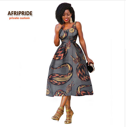 2018 Original Afripride private custom african clothes summer dress for women knee-length sleeveless batik party dress A722534 - buying leads