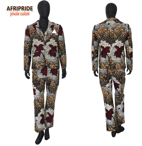 2018 african spring&autumn men's formal suit AFRIPRIDE full sleeve single breasted top+sleeveless vest+full length pants A731608- buying leads