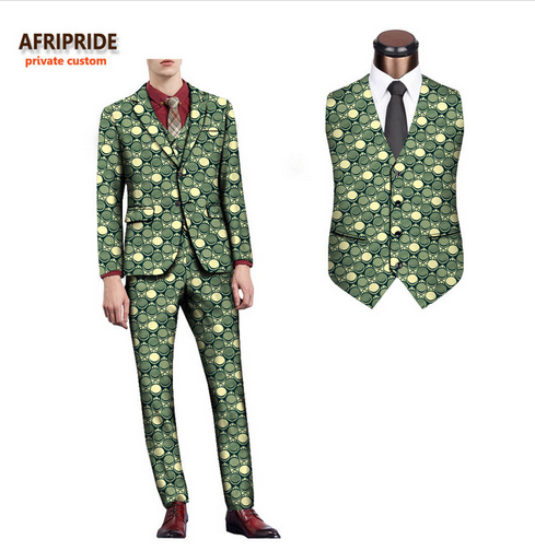 2018 african spring&autumn men's formal suit AFRIPRIDE full sleeve single breasted top+sleeveless vest+full length pants A731608 - buying leads