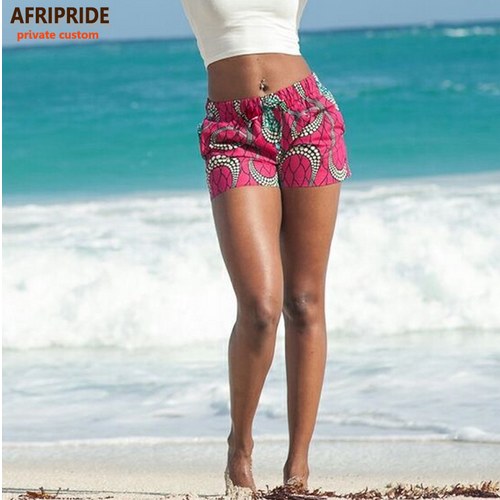 2018 summer beach shorts for women AFRIPRIDE private custom pure cotton print A722106