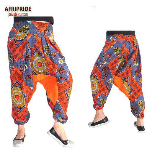 2018 african print casual pant for women AFRIPRIDE private custom ankle-length low crotch 100% batik cotton autumn pant A722109 - buying leads