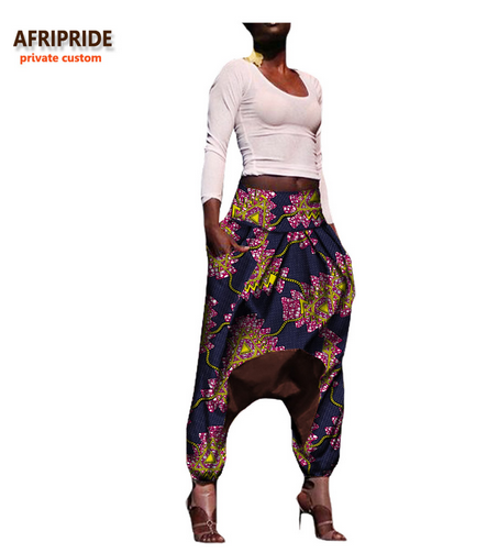 2018 african print casual pant for women AFRIPRIDE private custom ankle-length low crotch 100% batik cotton autumn pant A722109- buying leads