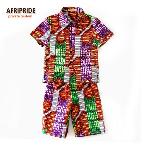 2018 boys short sleeve shirt and pants african clothes for kids children clothing print cotton wax plus size A723601