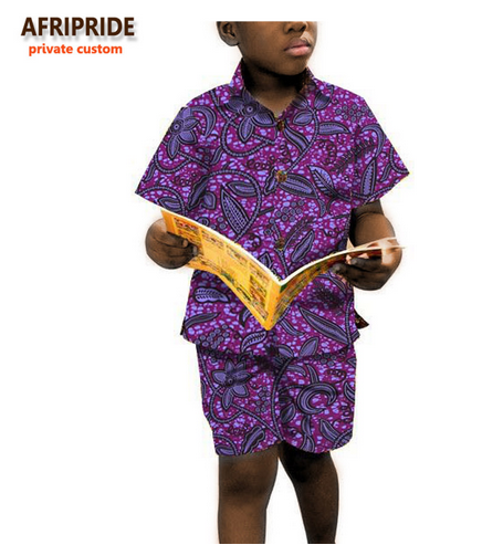 2018 boys short sleeve shirt and pants african clothes for kids children clothing print cotton wax plus size A723601 - buying leads