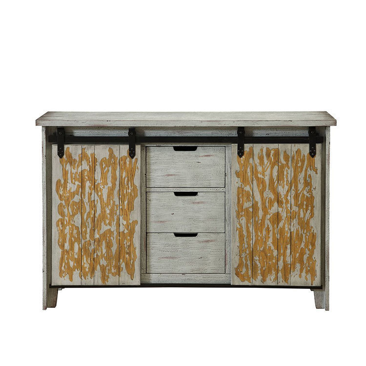 Two door cabinet with three drawers,new living room reclaimed wooden sideboard