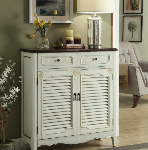 American shoe bench with two doors and two drawers